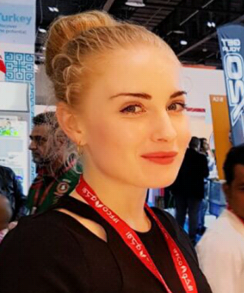 Moscow exhibition interpreter Ekaterina Kolg